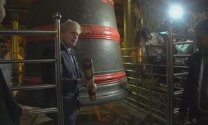 Boris Johnson recites a Kipling poem at a temple in Yangon last Semptember.