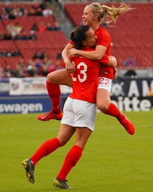 Lucy Staniforth and Beth Mead of England celebrate after her goal during the SheBelieves Cup match against Japan.