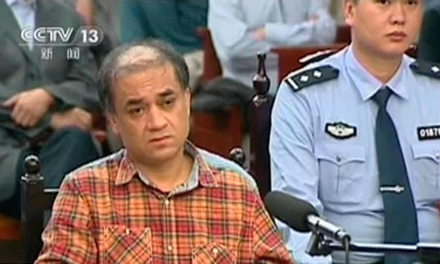 Uighur scholar Ilham Tohti during his trial on separatism charges in Urumqi, Xinjiang region, in September 2014. He is currently serving a life sentence