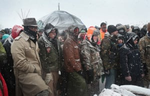 Military veterans are briefed on cold-weather safety issues and their overall role at Oceti Sakowin Camp on the edge of the Standing Rock Sioux Reservation outside Cannon Ball, North Dakota.