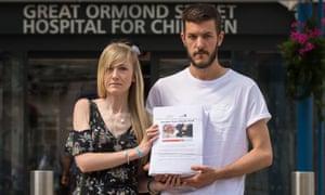 Charlie Gard's parents outside Great Ormond Street hospital on Sunday.