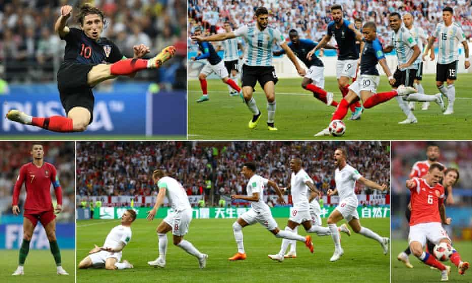 Croatia's Luka Modric; Kylian Mbappé scores for France against Argentina; Denis Cheryshev of Russia scores against Croatia; England's semi-final goalscorer Kieran Trippier leads his teammates in celebration; and Portugal's Cristiano Ronaldo gets ready to unleash a free-kick.