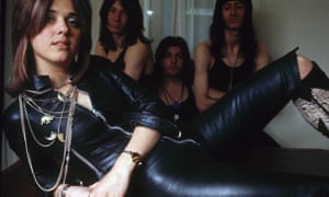 Quatro with her band and in leather jumpsuit, 1973.