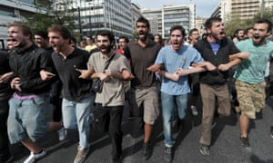 Students demonstrate against austerity and unemployment in Athens.