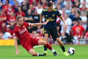 Dani Ceballos battles with Liverpool's Jordan Henderson. 'I haven't seen a team that plays better, that presses like them,' Ceballos says.