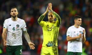 Disappointment for Shane Duffy and Darren Randolph at the end of the qualifier in Geneva.