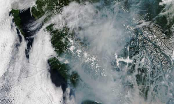 A satellite image released on 13 August by the Nasa Earth Observatory shows the smoky landscape of British Columbia.