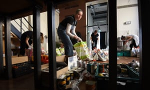 Volunteers from the Islington Covid-19 Mutual Aid group preparing food parcels for members of their community who are in self-isolation and experiencing financial difficulties