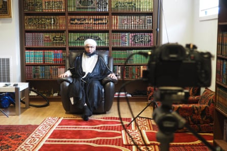 Mufti Zeeyad Ravat does a live Facebook lesson during Ramadan from his home in Dandenong.