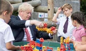 Boris Johnson visits the Discovery School in Kent in July.