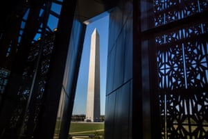 The neighbouring Washington Monument … views outside are somewhat diminished by heavy fixings.