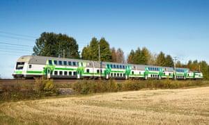 Helsinki to Rovaniemi sleeper train.