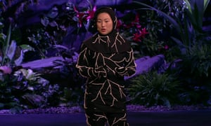 Artist Jae Rhim Lee giving a Ted talk in a special burial suit seeded with pollution-gobbling mushrooms.