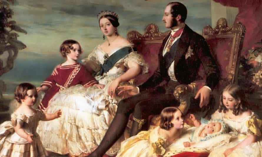 detail from Franz Xaver Winterhalter's portrait of Queen Victoria, Prince Albert and their children.