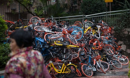 The huge pile of more than 500 for-hire bikes found dumped in Shenzhen.