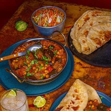 Marie Mitchell's aubergine curry with roti and coleslaw.