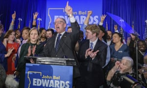 Louisiana governor John Bel Edwards addresses supporters at his election night party