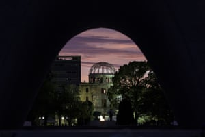 Sunrise at the Atomic Bomb Dome in Hiroshima Peace Memorial Park.