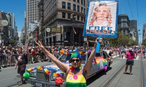 Protesters call for Chelsea Manning's release at the 2016 Gay Pride parade in San Francisco.