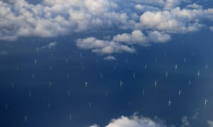 Burbo Bank offshore windfarm in Liverpool Bay, seen from the the window of an aircraft flying over the Irish Sea.