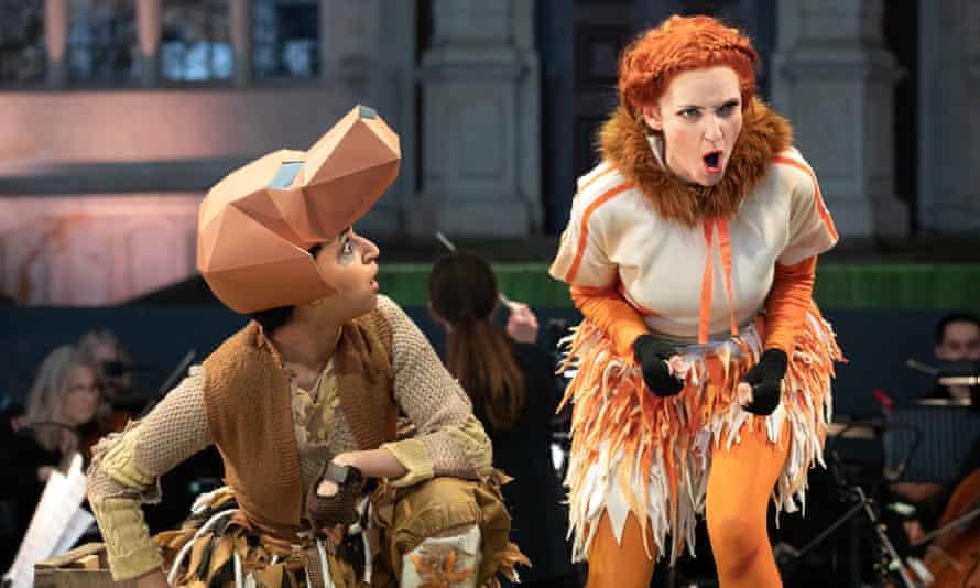 Natasha Agarwal as the Dog and Jennifer France as the Vixen in Opera Holland Park's Cunning Little Vixen