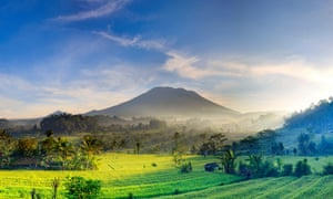In bright morning light, rice fields and Mount Agung, Bali, Indonesia.