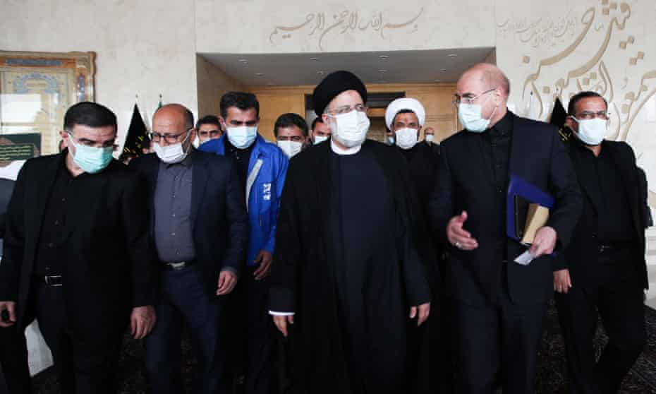 Iranian president Ebrahim Raisi with his cabinet at parliament in Tehran.