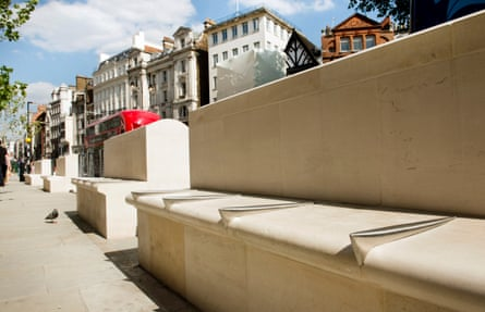 Hostile architecture outside the Royal Courts of Justice in London.