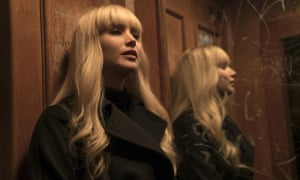 Jennifer Lawrence reflected in mirror  in Red Sparrow