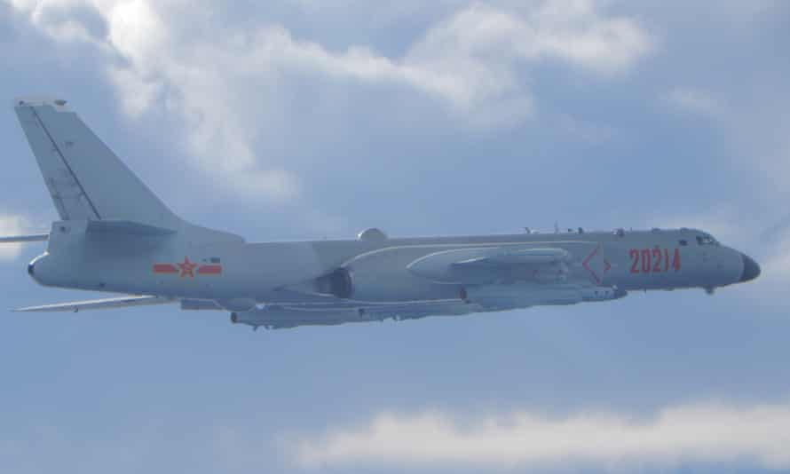File photo of a Chinese H-6 bomber on a mission near the median line in the Taiwan Strait