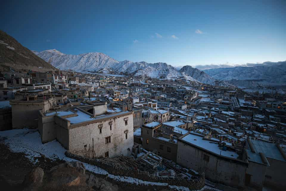 View of a snowy Leh, India