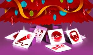 Illustration of app icons under Christmas tree