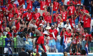 Baloy with the Panama fans at the end of the game.
