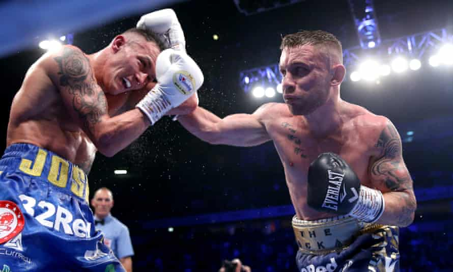 Carl Frampton during his defeat by Josh Warrington in Manchester in 2018.