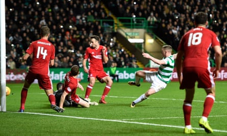 Jonny Hayes – who Celtic bought from Aberdeen in the summer – scores his new side's clinching second goal in Celtic's 3-0 win at Celtic Park.