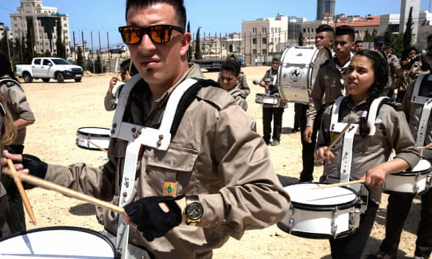 A Palestinian drum band in Ramallah on Nakba Day in May