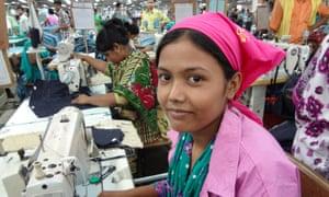 A garment factory worker in Bangladesh