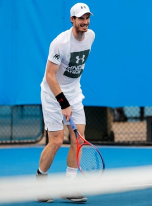 Andy Murray at a practice session at the Brisbane International tournament in Australia.