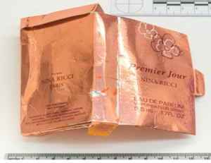 A counterfeit perfume box that was discovered by nerve agent victim Charlie Rowley.