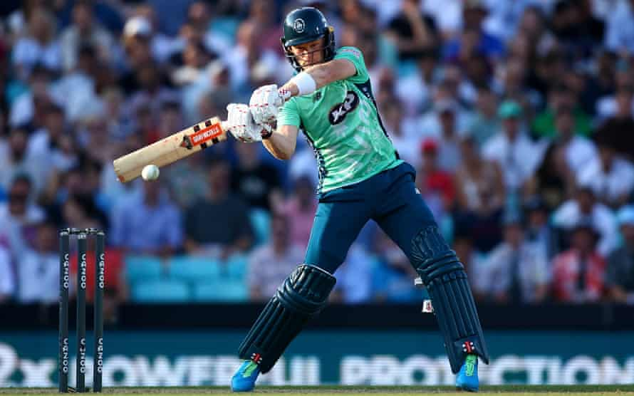 Sam Billings of the Oval Invincibles hits out.