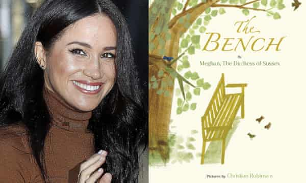 "This combination photo shows Meghan, Duchess of Sussex and cover art for her upcoming children's book ""The Bench"""