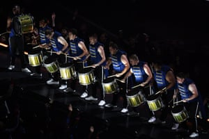 Drummers perform during the halftime show of Super Bowl LIII between the New England Patriots and the Los Angeles Rams at Mercedes-Benz Stadium in Atlanta, Georgia, on February 3, 2019.
