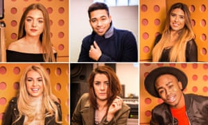 The UK's Eurovision shortlist … (clockwise from top left) Olivia Garcia, Danyl Johnson, Salena Mastroianni, Nate Simpson, Lucie Jones and Holly Brewer.
