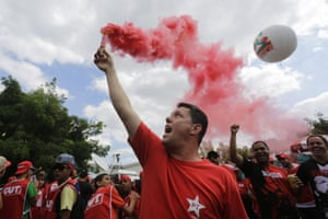 <strong>Sao Paulo </strong>Demonstrators let off flares in front of Lula Institute in Sao Paulo, Brazil, Sunday, Aug. 16, 2015. The march in support of Rousseff came as other demonstrators are taking to the streets of cities and towns across Brazil for a day of nationwide anti-government protests