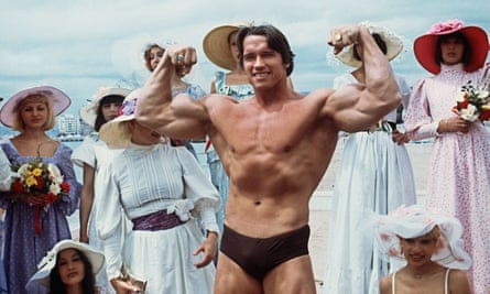 'Very possibly the most perfectly developed man in the history of the world' … Arnold Schwarzenegger promoting the docudrama Pumping Iron, inspired by Charles Gaines's book, at the 1977 Cannes film festival.