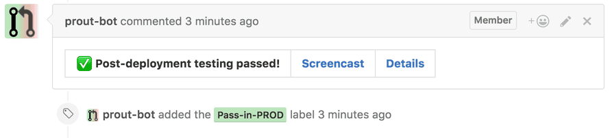 Prout reports the results from post-deployment tests in GitHub