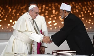 Pope Francis and Sheikh Ahmed al-Tayeb in Abu Dhabi on Monday.
