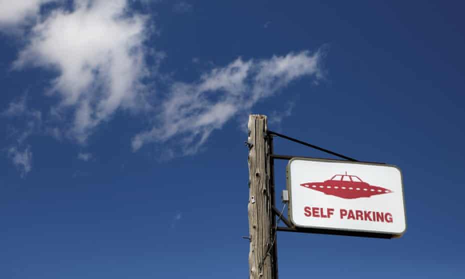 A parking sign at the Little A'Le'Inn in Rachel, Nevada.