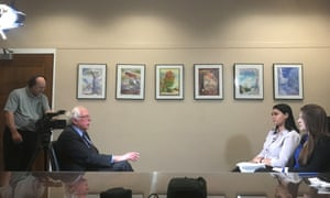 Bernie Sanders is interviewed by students of the Eagle Eye newspaper.