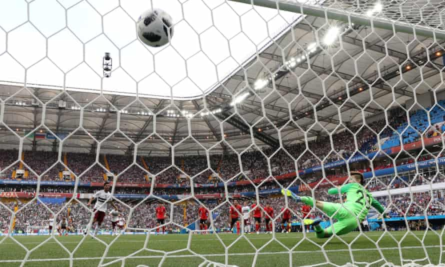 Carlos Vela scores for Mexico from the penalty spot.
